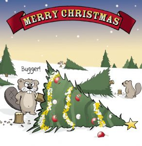 CAN5 – Happy Christmas Card Funny Beaver